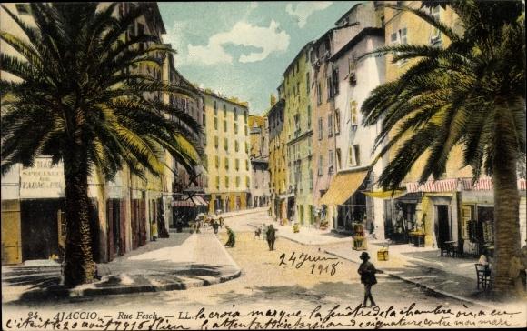 Ak Ajaccio Corse du Sud, Rue Fesch, Straßenansicht, Levy & Fils 24 0