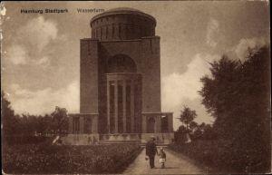 Ak Hamburg Nord Winterhude, Wegpartie mit Blick auf den Wasserturm