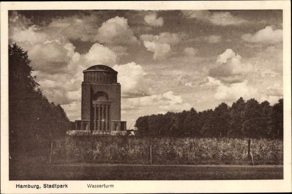 Ak Hamburg Nord Winterhude, Partie im Stadtpark, Blick zum Wasserturm 0