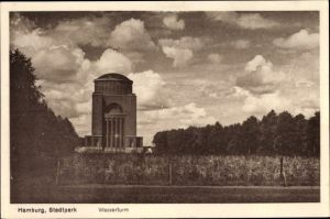 Ak Hamburg Nord Winterhude, Partie im Stadtpark, Blick zum Wasserturm