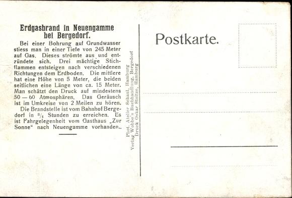 Ak Hamburg Bergedorf Neuengamme, Erdgasbrand bei Bohrungen 1910, Stichflamme 1