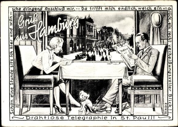 Passepartout Ak Hamburg Mitte St. Pauli, Mann und Frau an einem Tisch, Hund, Straßenpartie 0