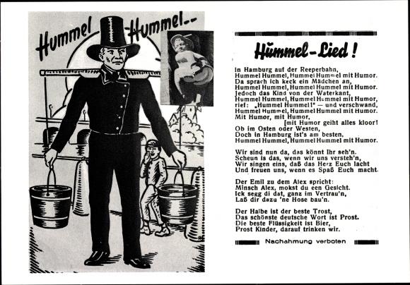 Lied Ak Hamburg, Hummel Lied, Stadttyp Hummel, Wasserträger, Figur mit nacktem Hintern 0