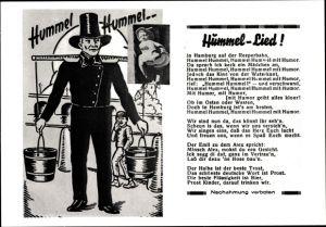 Lied Ak Hamburg, Hummel Lied, Stadttyp Hummel, Wasserträger, Figur mit nacktem Hintern