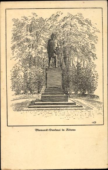 Künstler Ak Hamburg Altona, Blick auf das Bismarckdenkmal, Opfertag 1916 0