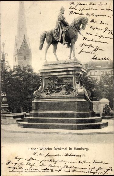 Ak Hamburg Mitte Altstadt, Straßenpartie mit Blick auf das Kaiser Wilhelm Denkmal 0