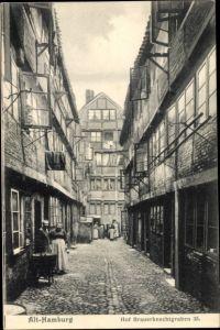 Ak Hamburg Mitte Altstadt, Blick in den Hof Brauerknechtgraben 35, Anwohner, alte Häuser