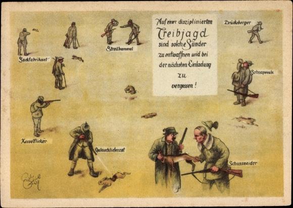 Künstler Ak Geilfus, H., Treibjagd, Kesselflicker, Streithammel, Jägerhumor, Gulaschlieferant 0