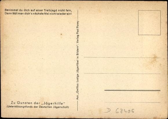 Künstler Ak Geilfus, H., Treibjagd, Kesselflicker, Streithammel, Jägerhumor, Gulaschlieferant 1