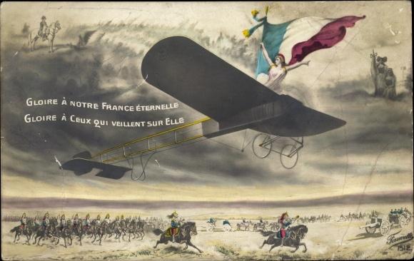 Künstler Ak Gloire à notre France Éternelle, Propaganda Frankreich, Marianne im Flugzeug
