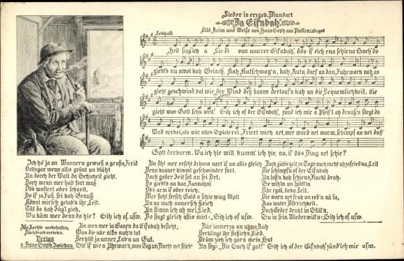 Lied Ak Soph, Hans, Da Eisnbah', Mann mit Pfeife im Zug, erzgebirgische Mundart 0