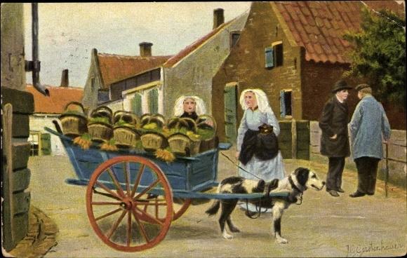 Künstler Ak Gerstenhauer, Johann Georg, Hundekarren mit Körben, Gemüse, Frauen