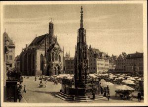 Ak Nürnberg in Mittelfranken Bayern, Marktplatz, Schöner Brunnen, Frauenkirche, Marktstände
