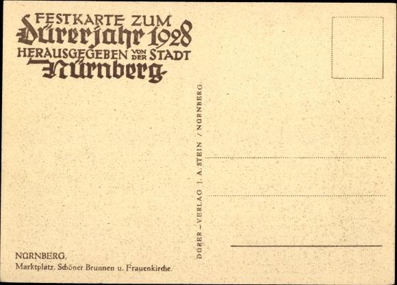 Ak Nürnberg in Mittelfranken Bayern, Marktplatz, Schöner Brunnen, Frauenkirche, Marktstände 1