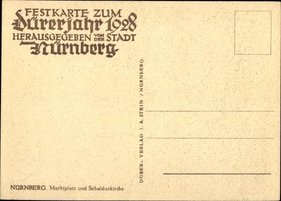 Ak Nürnberg in Mittelfranken Bayern, Marktplatz, Sebalduskirche, Schöner Brunnen, Marktstände 1