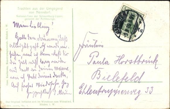 Ak Trachten aus der Umgegend von Nenndorf, National Tanz der Schaumburg Lipper, Achttouriger 1
