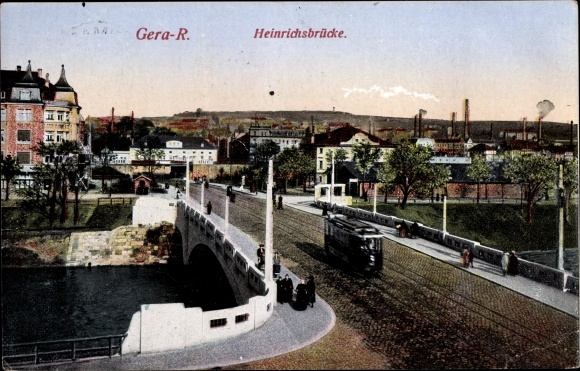 Ak Gera in Thüringen, Blick auf die Heinrichsbrücke, Straßenbahn 0
