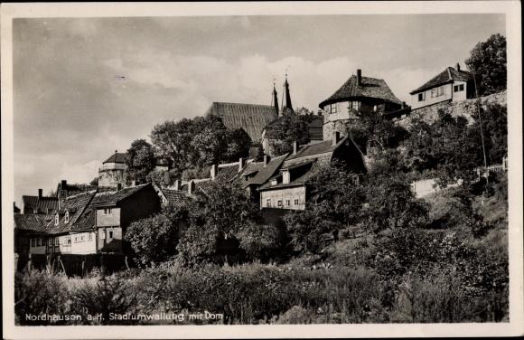Ak Nordhausen in Thüringen, Stadtumwallung und Dom 0