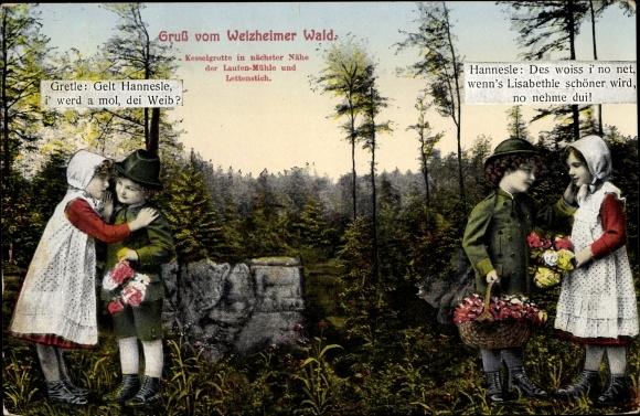 Ak Welzheim in Baden Württemberg, Partie im Wald, Gretle und Hannesle 0