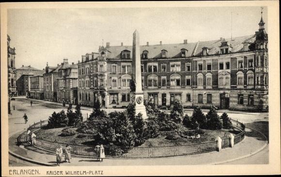 Ak Erlangen in Mittelfranken Bayern, Partie auf dem Kaiser Wilhelm Platz, Denkmal 0