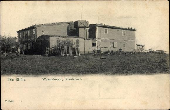 Ak Gersfeld in der Rhön Hessen, Die Rhön, Wasserkuppe, Schutzhaus