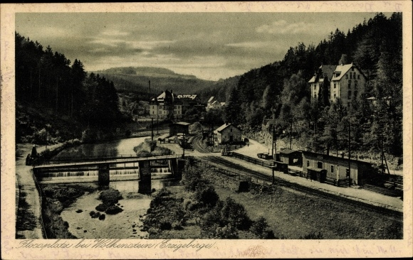 Ak Wolkenstein im Erzgebirge, Blick auf Flossplatz, Bahnhof, Wehr 0
