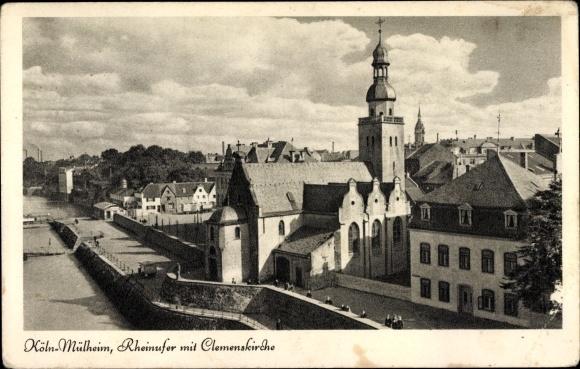 Ak Mülheim an der Ruhr, Rheinufer mit Clemenskirche 0