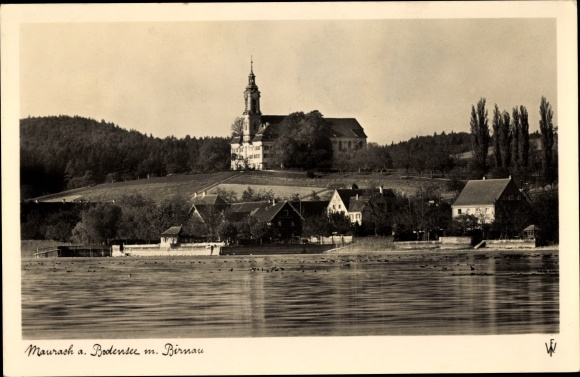 Ak Uhldingen Mühlhofen am Bodensee, Schloss Maurach am Bodensee mit Birnau 0