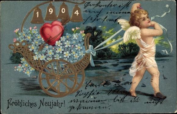 Präge Litho Glückwunsch Neujahr, Jahreszahl 1904 in Glocken, Engel zieht einen Wagen 0