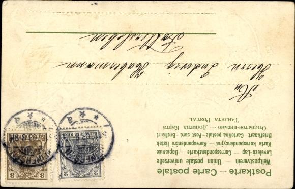 Präge Litho Glückwunsch Neujahr, Jahreszahl 1904 in Glocken, Engel zieht einen Wagen 1