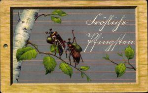 Präge Litho Glückwunsch Pfingsten, Zwei Maikäfer auf einem Zweig