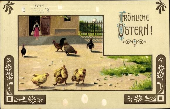 Präge Litho Glückwunsch Ostern, Küken und Hühner auf einem Bauernhof, Eier