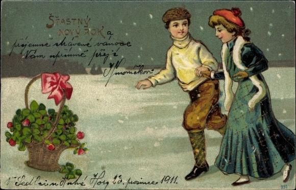 Präge Litho Glückwunsch Neujahr, Mann und Frau Hand in Hand, Kleeblätter in einem Korb