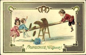 Präge Litho Glückwunsch Neujahr, Kinder auf einer Wippe, Münzen, Hufeisen