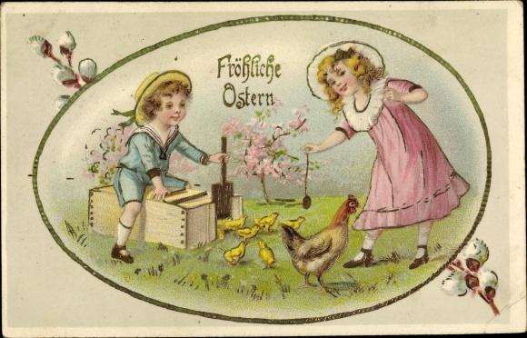 Präge Litho Glückwunsch Ostern, Kinder lassen Küken auf eine Wiese, Weidenkätzchen, Osterei 0
