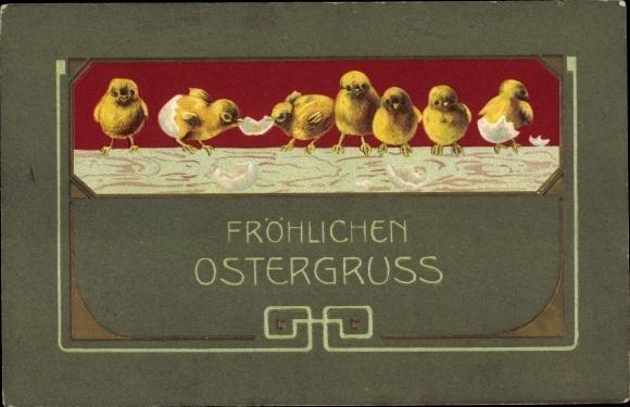 Präge Litho Glückwunsch Ostern, Küken sind gerade aus den Eiern geschlüpft 0