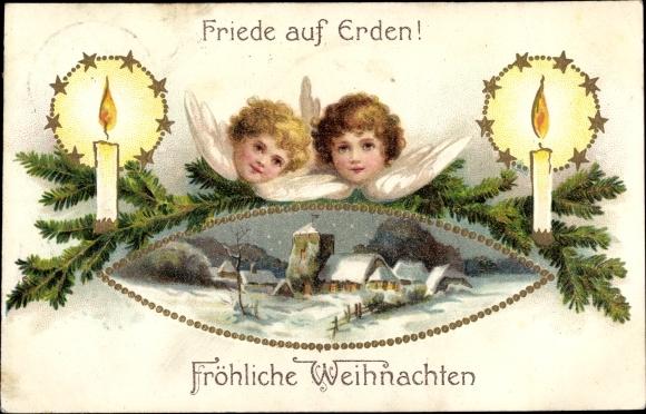 Präge Litho Glückwunsch Weihnachten, Zwei Engel, brennende Kerzen, Kirche 0