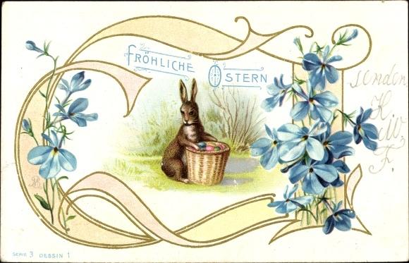 Präge Litho Glückwunsch Ostern, Osterhase mit Korb voll bunter Eier 0