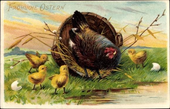 Präge Litho Glückwunsch Ostern, Schwarzes Huhn und Küken, Eierschale 0
