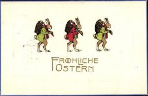 Präge Litho Glückwunsch Ostern, Drei Osterhasen mit Rückentragen mit Ostereiern