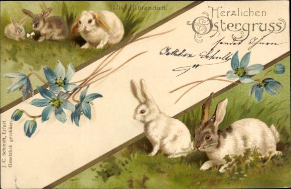 Präge Litho Glückwunsch Ostern, Fünf Hasen auf einer Wiese, Blüten 0