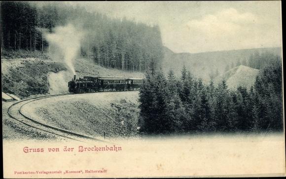 Ak Motiv der Brockenbahn im Harz im Fahrbetrieb, Dampflokomotive