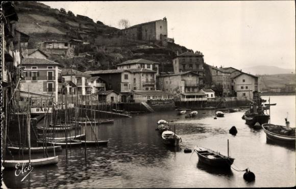 Ak Pasages Espagne, Le Port et ses Curieuses Maisons, Hafenpartie 0