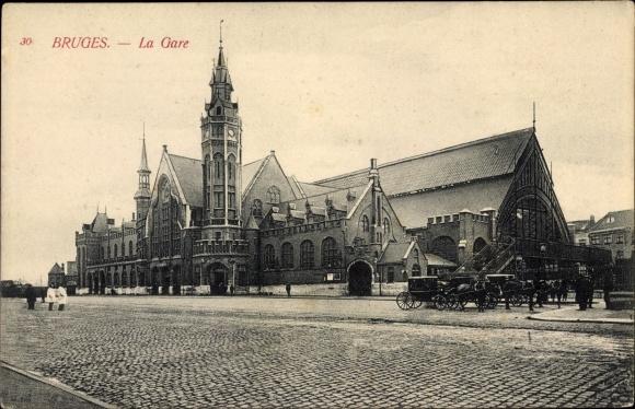 Ak Bruges Brügge Flandern Westflandern, Blick auf den Bahnhof, la gare 0