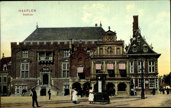 Ak Haarlem Nordholland Niederlande, Stadhuis, Partie am Rathaus 0
