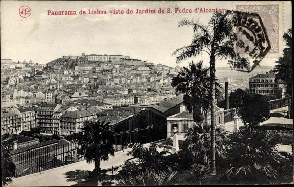 Ak Lisboa Lissabon Portugal, Panorama de Lisboa visto do Jardim de S. Pedro d' Alcantara 0