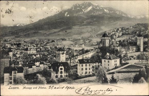 Ak Luzern Stadt Schweiz, Musegg und Pilatis, Blick auf den Ort, Berg 0