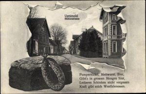 Passepartout Ak Versmold in Nordrhein Westfalen, Partie in der Mühlenstraße, Pumpernickel, Mettwurst