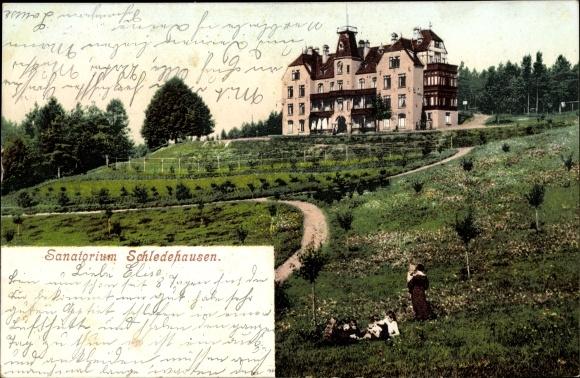 Ak Schledehausen Bissendorf in Niedersachsen, Sanatorium, Außenansicht, Parkanlagen 0