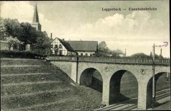 Ak Laggenbeck Ibbenbüren im Tecklenburger Land, Eisenbahnbrücke, Bahnstrecke 0